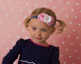 Nautical Headband, Navy and Pink Anchor Headband, Baby Headband, Baby Hair Bow, Nautical Hair Bow, Newborn Headband