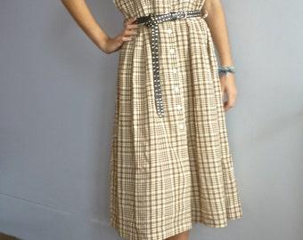 Vintage 50s secretary dress 1950s vintage plaid dress from France vtg tea dress shirtwaist dress shirt dress fifties 50s midi dress