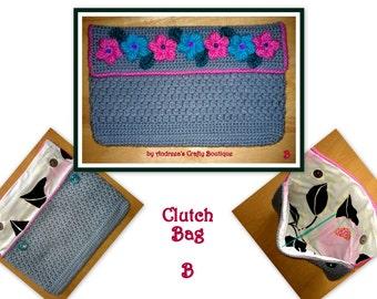Crochet OOAK Clutch Bag Two Magnetic Fasteners, Stunning Crochet Clutch Bag, W 17cm X L 27cm, Version B, Ready to ship