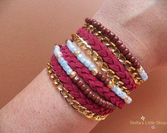 Boho Wrap Bracelet, Leather Bracelet, Braided Bracelet, Beaded Bracelet, Triple Wrap, Gift