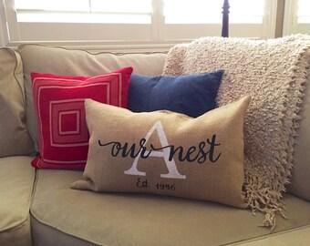 Our Nest - Custom Farmhouse, Shabby Chic Pillow Cover 100% Jute