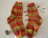 Hand knit socks - Autumn stripe socks - boot socks - perfect gift idea for women - women's socks size 8-10 - hiking socks