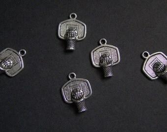 Five Silver Basketball Charms - Tibetan Silver - Sports - Jewelry Supplies