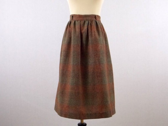 60s Wool Skirt - Size Medium High Wasited Plaid Skirt - Vintage 1960s A Line Knee Length Skirt