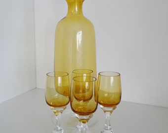 Vintage Decanter Set Amber Glass And Four Cordial Liquor Glasses Made In Poland Circa 1960's