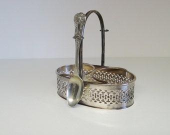 Vintage Preserve Jar Holder 1930's Top Quality Antique Silver Plate Table Preserve Jar Holder by Harrods, London