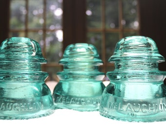 RARE Light AQUA Glass Insulator Pendant Light, Antique Railroad Glass Insulator Pendant Light - Repurposed & Made in USA