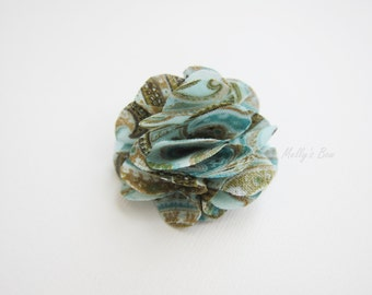 Men's Lapel Flower Pin - Wedding Boutonniere - Groomsmen Flower - Tuxedo Corsage - Buttonhole - Aqua-Brown Paisley