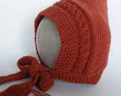 Children's Hat, Pixie Hat, Knitted Baby Hat, Rust Orange Hat, Sizes From 6 months to Age 3 yrs, Toddler Pixie Hat, Pixie Bonnet, Winter Hat