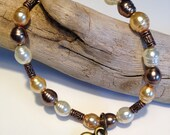 Bracelet Brown, Pearl White, Butter Yellow with Copper dividers and a Brass Heart Charm Bohemian Bracelet