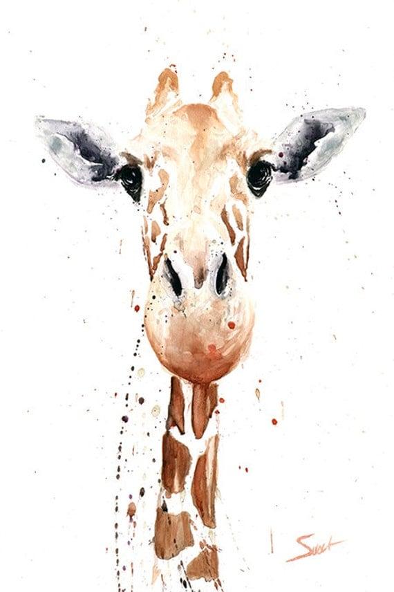 Giraffe painting giraffe watercolor animal art by signedsweet - Wandbild hochformat ...
