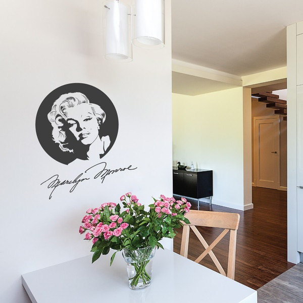 wall decal marilyn monroe with signature wall sticker icon. Black Bedroom Furniture Sets. Home Design Ideas