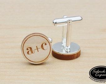 Personalized Wedding Cuff Links - Custom Engraved Men's Wooden Cuff Links - Custom Cufflinks - Engraved Cuff Links -Anniversary Gift - CF-02