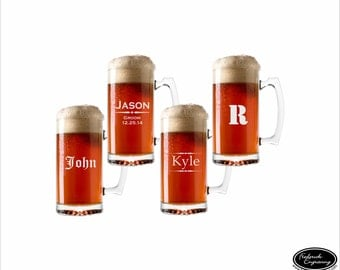 FOUR Personalized Beer Mugs, SHIPS FAST Custom Engraved Beer Mugs, Etched Beer Glasses, Groomsmen Wedding Glasses, Will You Be My Groomsman?