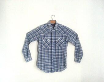 Vintage 80s Levi's Western Shirt Plaid Small