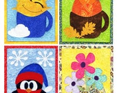 MUG RUG PATTERN Cup O'Seasons Mug Rug Pattern Collection - Set of 4 Mug Rug Patterns - Winter Spring Summer Fall (Instant Digital Download)