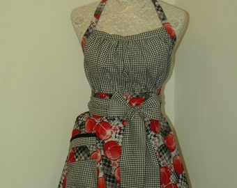 Christmas Cheer and Houndstooth Full Apron/Christmas Apron with Full Skirt (towels in separate listing)
