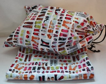Shoe Bags 10 x 15 Inches Drawstring Travel Shoe Bags in Shoe Diva Cotton Fabric
