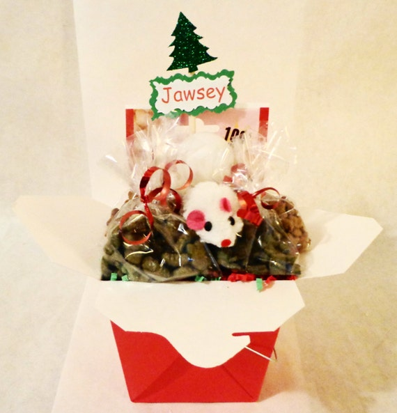 Christmas cat or ferret treat gift basket with toys, holiday, personalized cat gift, cat nip, balls