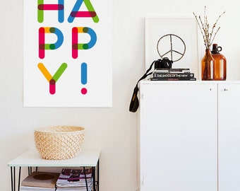 Positive colorful Print - But first, love