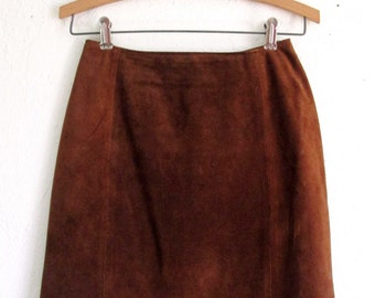 Amati Brown Vintage Suede Leather Skirt Size 5/6