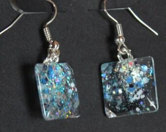 carolina blue and silver, unc tarheels colors, glitter sparkly fishhook earrings, Team Spirit