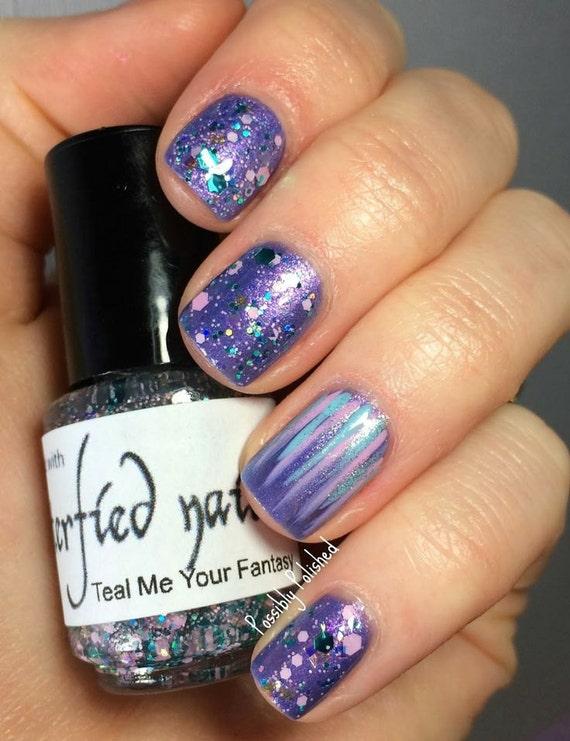 Teal Me Your Fantasy - Teal and Pink glitter Iridescent Glitter Nail Polish 5 free nail polish handmade indie nail polish vegan cruelty free