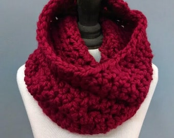 Cranberry Oversized Chunky Cowl Neckwarmer Womens Crochet Infinity Scarf