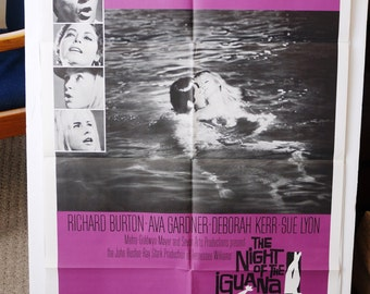 "Movie Poster  ""Night of the Iguana"" - 1964 - Richard Burton, Ava Gardner, Deborah Kerr   RARE"