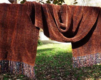 Tobacco Handwoven Chenille Scarf for Men or Women