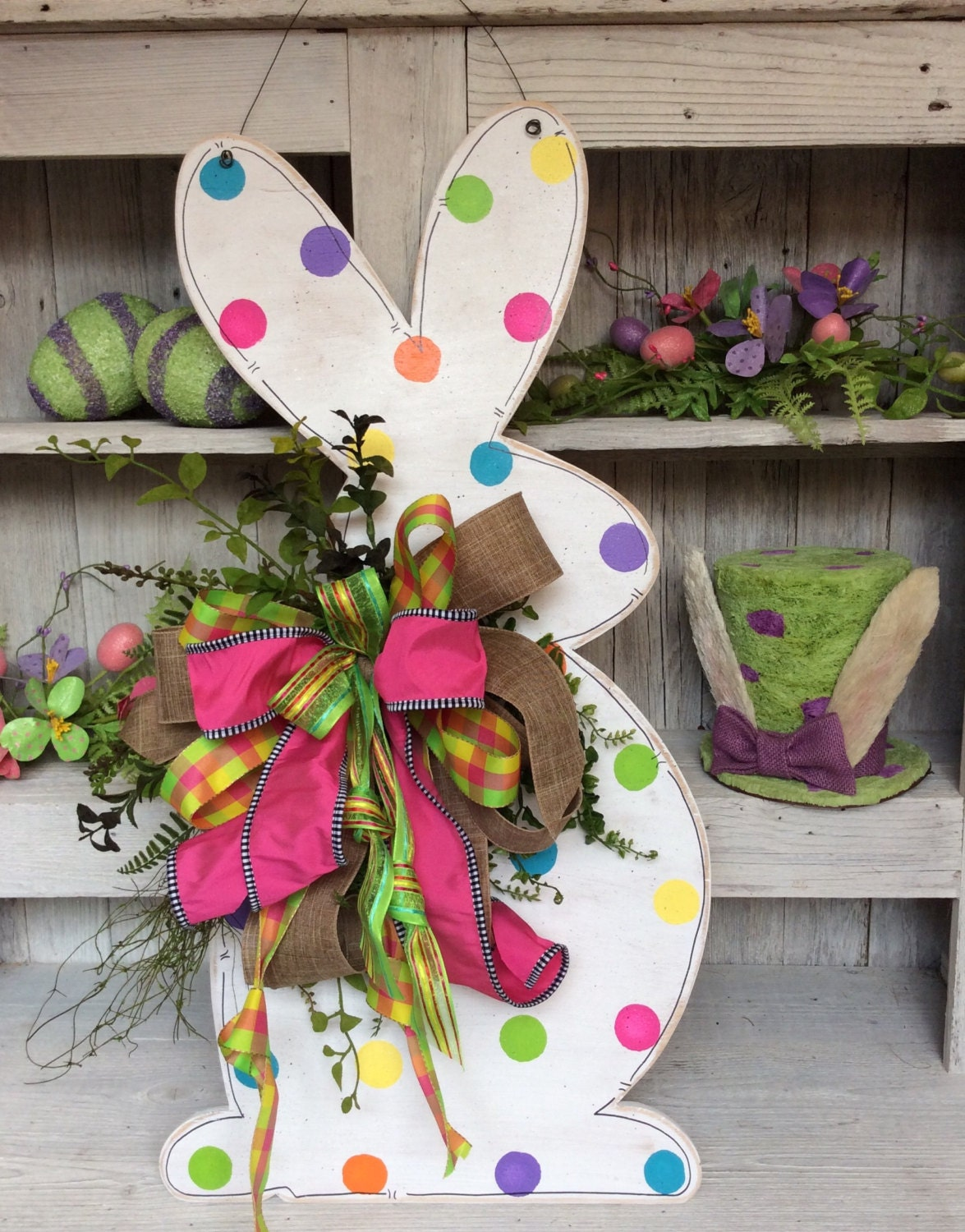 Easter Bunny Wreath Bunny Door Decor Bunny Door Easter