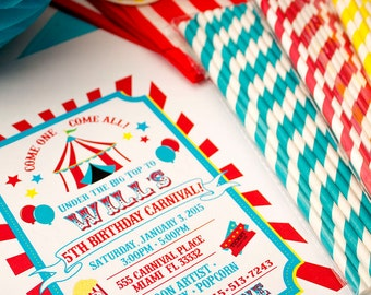 Carnival Birthday Party Printable Invitation - by Celebration Lane