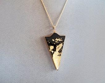 Black Gold Triangle Adjustable Necklace - Geometric Necklace
