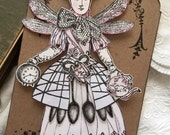 Mixed Media, Art Tag ,Paper Doll, Fairies, Paper Collage, Victorian Style, Fantasy, Steampunk