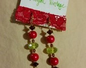 Handmade Metallic Red Gold & Green Glass Pearl Crystal Earrings