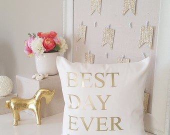 best day ever throw pillow cover wedding or new baby gift name pillow