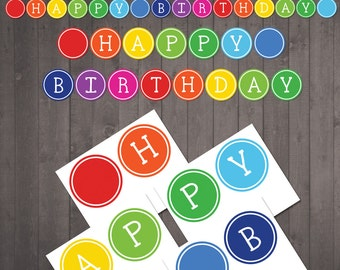 Printable Happy Birthday Banner for a Rainbow Party - Happy Birthday Sign - INSTANT DOWNLOAD