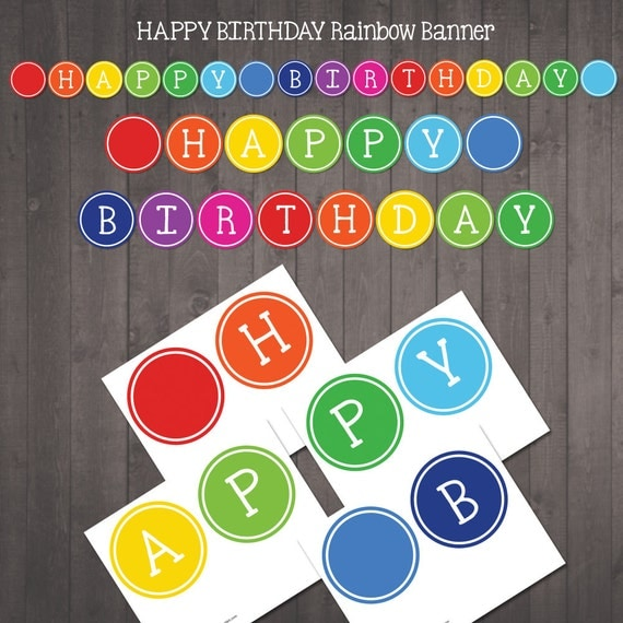 Printable Happy Birthday Banner For A Rainbow Party Happy