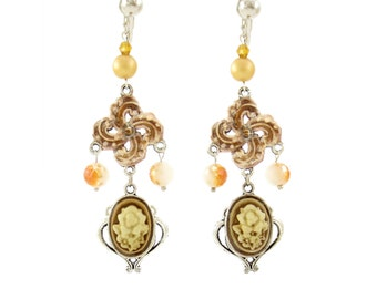 Dramatic Brown Antique Victorian Flower Cameo Clip on Earring, Ivory Rose Very Long Unique Chandelier, Hook Option