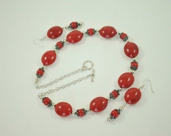 Red Necklace Set - Red Beaded Necklace - Handmade Red Necklace Set - Women Red Necklace and Earrings Set
