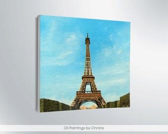 On sale Paris skyline Paris painting Eiffel tower painting Oil painting Paris wall art Paris wall decor Eiffel tower art Paris illustration
