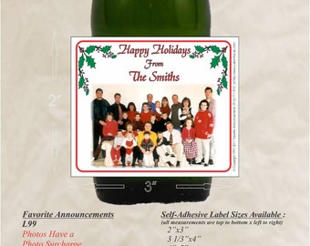 Christmas Wine Labels, Holiday Labels, Holiday Photo, homemade wine, mini liquor bottle labels, Wine Labels Wedding (Set of 24)(L99)