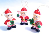 retro hard plastic Irish elf ornaments; 3 old fashioned Christmas elves; yesteryears holiday stocking stuffer