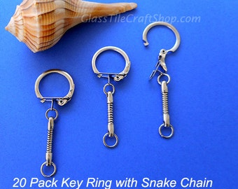 Key Ring with Snake Chain Chrome Plated 2 3/8 inch 20 Pack. (SKEYRING)