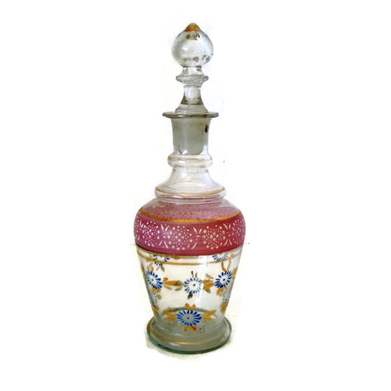 Cottage Style Perfume Bottle With Stopper Hand Painted