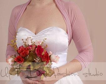 Bridal tulle cover up/blush pink bolero /jacket / wrap  3/4 sleeves wedding  gown