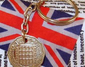 1956 3d 12 Sided Threepence English Coin Keyring Key Chain Fob Queen Elizabeth II