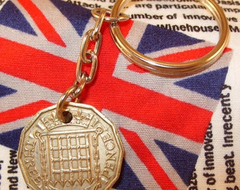 1960 3d 12 Sided Threepence English Coin Keyring Key Chain Fob Queen Elizabeth II
