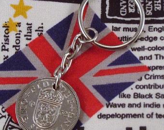 1962 Old Scottish Shilling Coin Keyring Key Chain Fob Queen Elizabeth