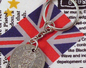 1966 Old Scottish Shilling Coin Keyring Key Chain Fob Queen Elizabeth